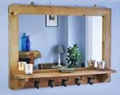 Large mirror with shelf & 5 iron hooks, modern rustic, hallway bathroom, chunky iron coat hooks, 90W x 65H cm - custom made in Somerset UK