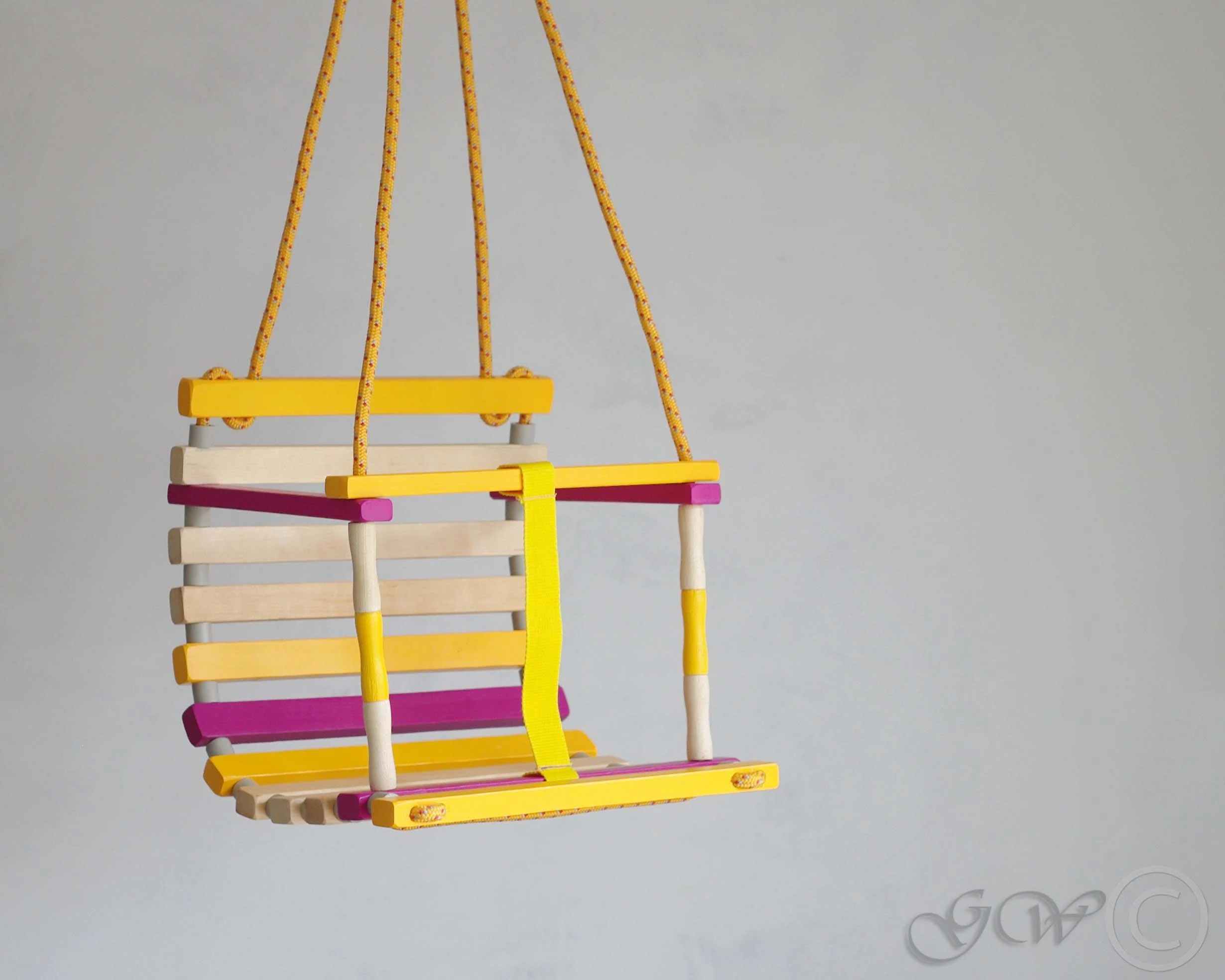 Personalized Wooden Handmade Swing Baby Swing Toddler swing Bright yellow-purple