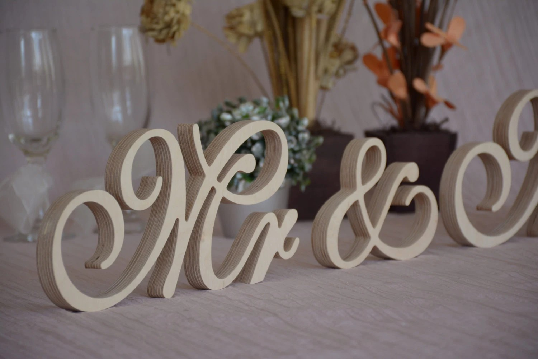 Wooden Letters Script Mr &Mrs Set Wedding Table Decor. Mr