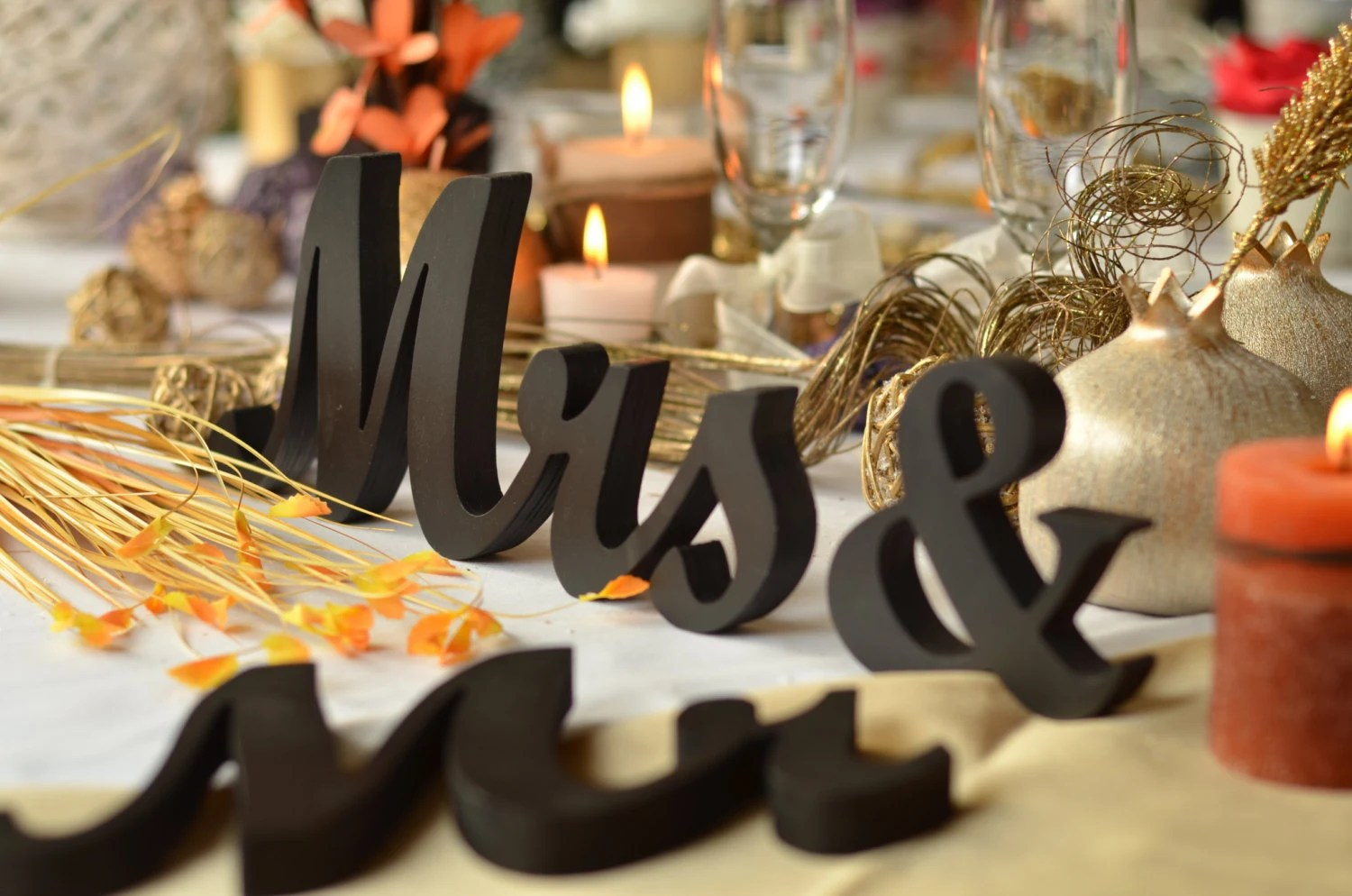 Mr & Mrs Wedding Signs For Sweetheart Table Wooden Letters