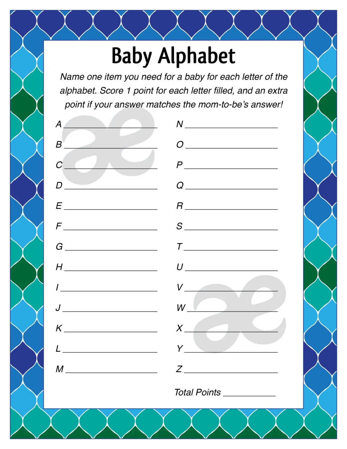 Baby Items Alphabet : items, alphabet, Printable, Shower, Game:, Alphabet, Instant, Download