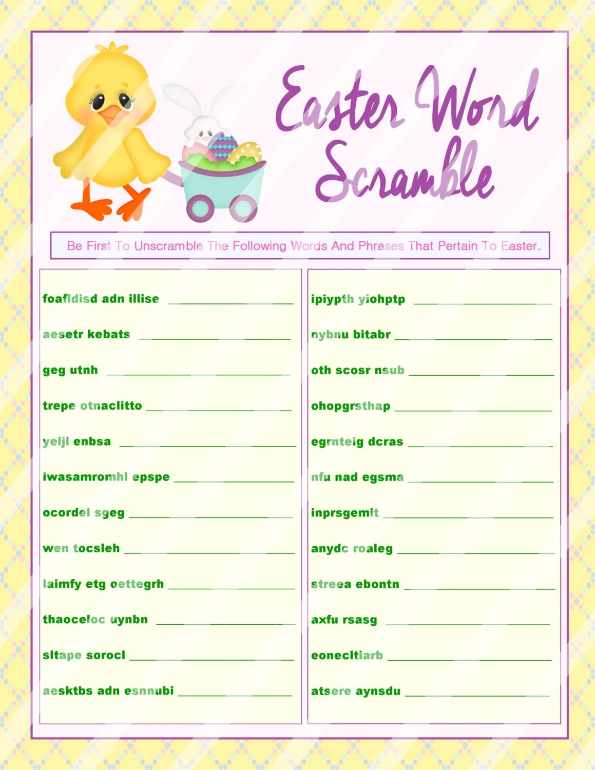 Easter Word Scramble Printable Word Scramble Diy Easter