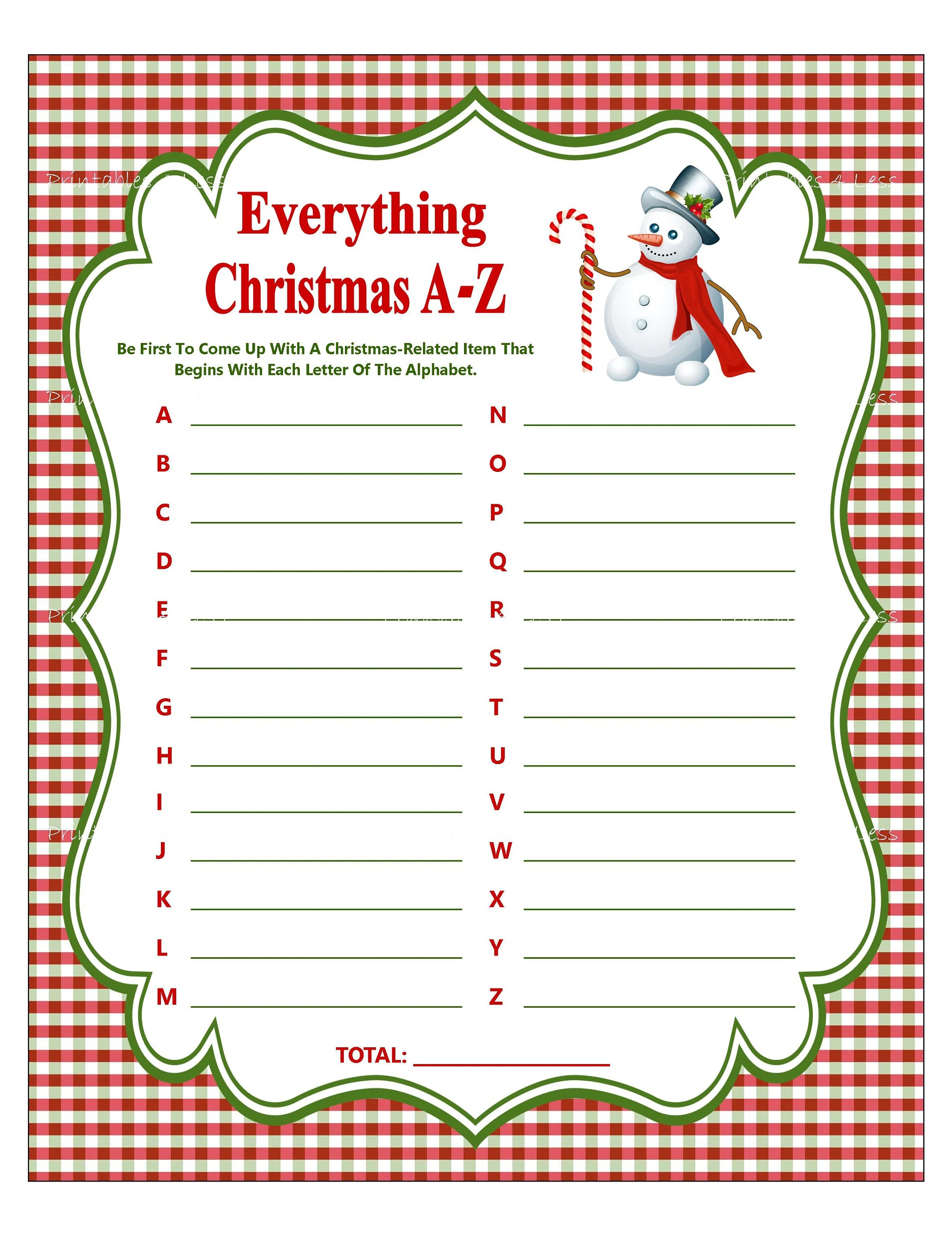 Christmas A Z Printable Christmas Game Christmas Party