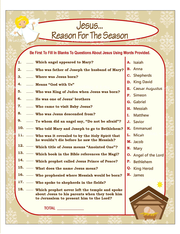Christian Christmas Game Christian Word Game Printable