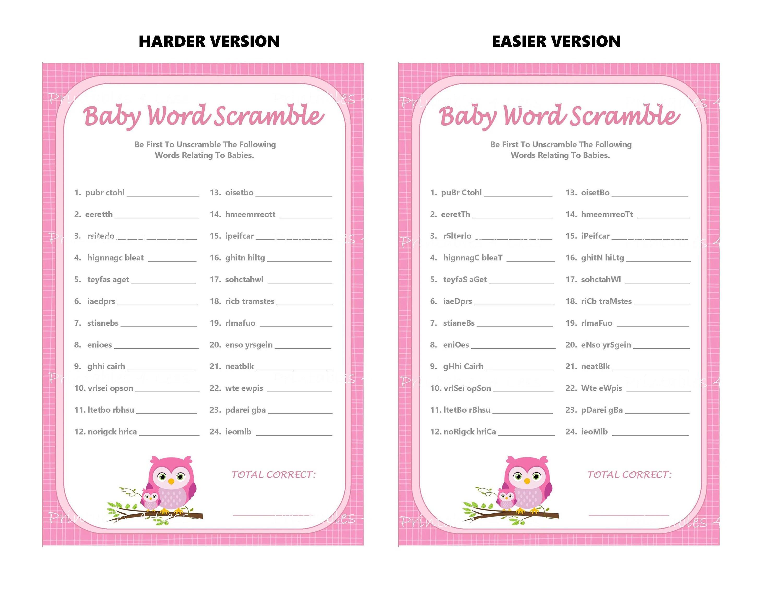 Pink Owl Word Scramble Game Owl Baby Word Scramble Printable