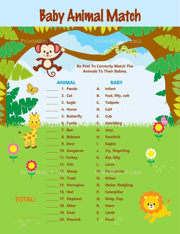 Safari Baby Animal Match Baby Animal Name Game Jungle