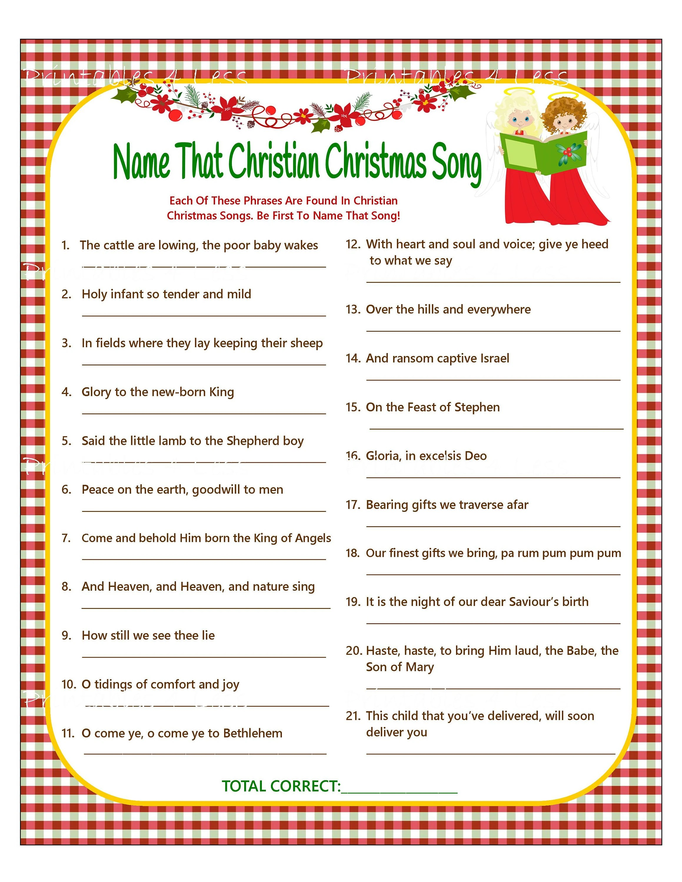 christmas song game christian