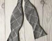 Gray Grid Bow Tie