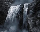 "18x24"" Original Oil Painting - Dark Black and White Waterfall Landscape - Large Canvas Wall Art"