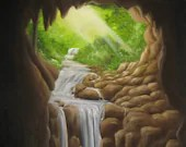 "18x24"" Original Oil Painting - Hidden Cave Enchanted Fairy Forest Waterfall Landscape - Large Canvas Wall Art"