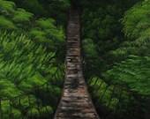 "16x20"" Original Oil Painting - Green Rainforest Bridge Forest Landscape - Canvas Wall Art"