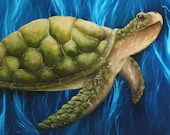 "16x20"" Original Oil Painting - Seaturtle Painting - Wall Art"