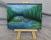 "Original Mini Painting - (3x4"") Bridge River Forest Art, Oil Painting on Canvas with Easel, Apartment Decor, Small Gift, Dollhouse Art"
