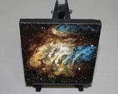 """Original Mini Painting - (4x4"""") Blue Yellow Brown RCW38 Nebula Galaxy Stars Starry - Outer Space Astronomy Oil Painting on Easel"""