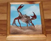 "8x10"" Original Oil Painting - Crab Sand Beach Painting - Underwater Seacreature Oceanlife Wall Art"