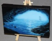 "4x6"" Original Mini Oil Painting - Ocean Cove Cave Sea Sailing Ship of Sail Foggy Blue Seascape - Small Canvas Wall Art"