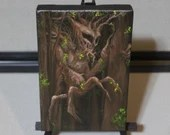 "4x6"" Original Mini Oil Painting - Brown Forest Tree Monster Creature Dark Art Horror Spooky - Fantasy Wall Art Mini Painting"