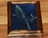 "5x7"" Original Mini Oil Painting - Blue Gray Humpback Whale Oceanlife Seacreature - Small Canvas Wall Art"