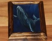 "5x7"" Original Mini Oil Painting - Blue Gray Humpback Whale Oceanlife Seacreature - Small Canvas Wall Art"