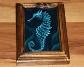 "4x6"" Original Mini Oil Painting - Blue Seahorse Oceanlife Seacreature - Small Canvas Wall Art"