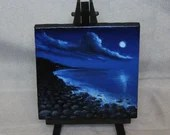 "Original Mini Painting - (4x4"") Blue Night Ocean Rocky Beach, Oil Painting on Canvas with Easel, Apartment Decor, Small Gift"