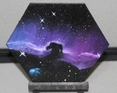 "5-6"" Original Mini Oil Painting Hexagon Flat Panel - Horsehead Nebula Galaxy Deep Outer Space Starry Spacescape - Small Canvas Wall Art"
