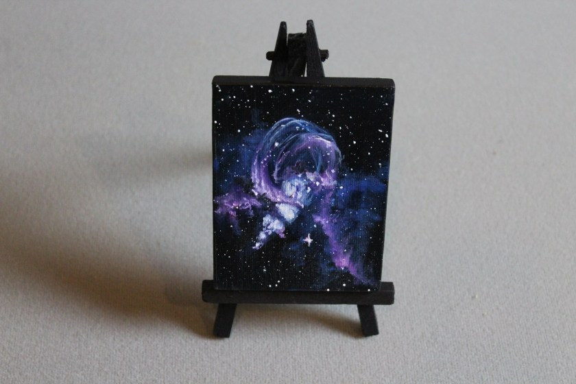 """Original Mini Painting - (3x4"""") Deep Space Dark Statue of Liberty Nebula Galaxy Stars Starry - Oil Painting on Easel - Dollhouse Painting"""