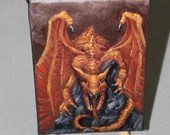 "4x6"" Original Mini Oil Painting - Red Orange Brown Medieval Flying Dragon - Fantasy Wall Art Mini Painting"
