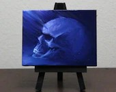 "3x4"" Mini Original Oil Painting - Human Skull Painting -  Indigo Blue Purple Skull - Macabre Decor Wall Art Gift for Men"