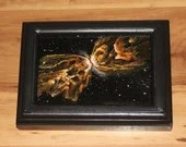 "4x6"" Original Mini Oil Painting - Butterfly Nebula Galaxy Deep Space Outer Space Starry Spacescape - Small Canvas Wall Art"