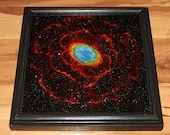 "10x10"" Original Oil Painting - Red Ring Nebula IR Eye Galaxy Outer Space Deep Space Astronomy Stars Starry Wall Art"