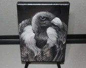 "5x7"" Mini Original Oil Painting - Little Vulture Black White Brown Bird of Prey Spooky Horror Gothic - Ornithology Small Miniature Bird Art"