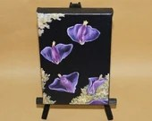 "4x6"" Original Mini Oil Painting - Pink & Purple Sea Slugs Ocean Butterflies Oceanlife Seacreature - Small Canvas Wall Art"