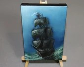 "4x6"" Original Mini Oil Painting - Ship of Sail Saling Pirate Ship Ocean Seascape - Small Canvas Wall Art"