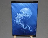 "4x6"" Original Mini Oil Painting - White Jellyfish Blue Ocean Oceanlife Seacreature - Small Canvas Wall Art"