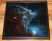 "16x16"" Original Oil Painting - Monkey Head Nebula Galaxy Outer Space Deep Space Astronomy Stars Starry Wall Art"