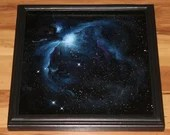 "12x12"" Original Oil Painting - Blue Orion Nebula Galaxy Outer Space Deep Space Astronomy Stars Starry Wall Art"