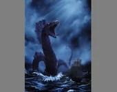 "Art PRINT - Sea Serpent Sailing Ship Lovecraftian Monster Horror Fantasy Ocean Storm Wall Art - Choose Size 4x6"" 5x7"" 8x10"" 12x16"" PRINTS"