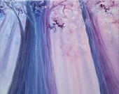 """8x10"""" Original Oil Painting - Enchanted Forest Pastel Peaceful Pretty Trees - Landscape Wall Art"""