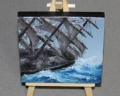 "Original Mini Painting - (4x4"") Tipping Ship of Sail Pirate Ship Sailing, Oil Painting on Canvas with Easel, Apartment Decor, Small Gift"