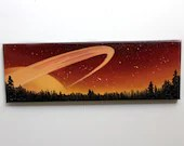 "6x18"" Original Oil Painting - Saturn Planet Ringed Planet Over Forest Painting - Outer Space Astronomy Stars Starry Wall Art"