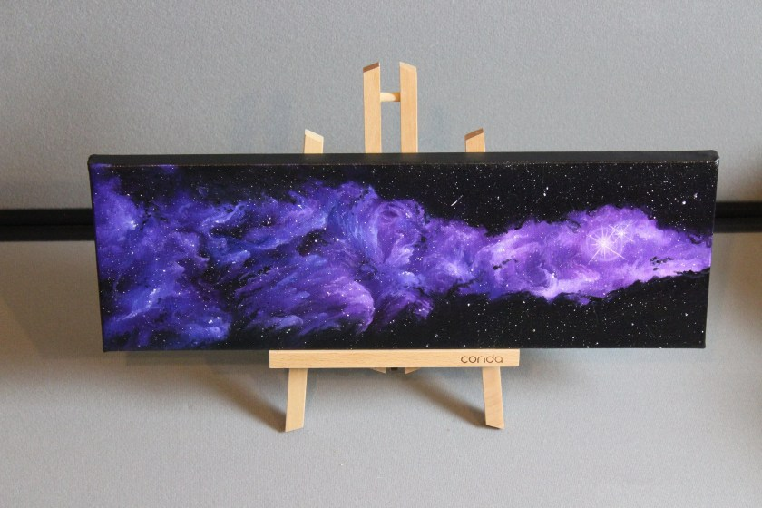 """6x18"""" Original Oil Painting - Nebula Galaxy Blue Purple Starry Painting - Outer Space Astronomy Stars Starry Wall Art"""