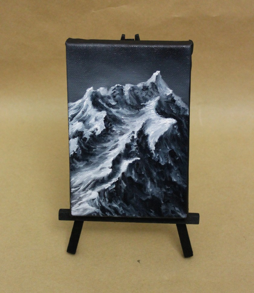 "4x6"" Original Mini Oil Painting - Jagged - Snowy Mountain Range Landscape - Small Canvas Wall Art"