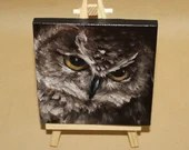 "RESERVED - Original Mini Painting - (4x4"") Brown Owl Animal Painting, Oil Painting on Canvas with Easel, Apartment Decor, Small Gift"
