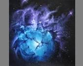 "Art PRINT - Blue Purple Trifid Nebula - Outer Space Galaxy Astronomy Wall Art - Choose Size 8x8"", 10x10"" 12x12"" PRINTS"