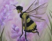 "10x10"" Original Oil Painting - Queen Bee Lady Fairy Faerie Fae Pixie - Fantasy Wall Art"