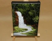 "4x6"" Original Mini Oil Painting - Dark Green Forest Waterfall Stream Landscape - Small Canvas Wall Art"