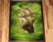 """24x36"""" Original Oil Painting - Dragons Attack Ship of Sail Green Ocean Cloudy Dark Seascape Dragon Monster Fantasy - Giant Large Wall Art"""
