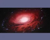 """15x30"""" Original Oil Painting - Huge Dark Rose Spiral Galaxy Painting - Large Outer Space Deep Space Astronomy Canvas Wall Art"""