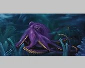 "10x20"" Original Oil Painting - Purple Octopus Cephalopod - Underwater Seacreature Oceanlife Wall Art"
